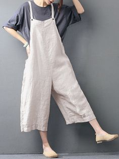94635983879 Hot-sale O-NEWE Casual Loose Pure Color Strap Pocket Wide-legged Jumpsuits  - NewChic Mobile.