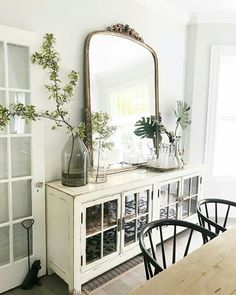 Gleaming Primrose Mirror by Anthropologie in Black, Wall Decor Dining Room Decor dining room buffet decor French Country Living Room, French Country Decorating, French Living Rooms, Southern Living, Coastal Living, Coastal Decor, Deco Buffet, Buffet Hutch, Muebles Shabby Chic