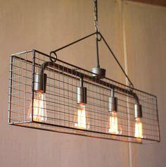 Kalalou Four Bulb Wire Mesh Horizontal Pendant Light - This wire mesh pendant…