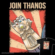 Shop Join Thanos movies t-shirts designed by trheewood as well as other movies merchandise at TeePublic. Big Ban, Geek Shirts, Movie T Shirts, Revenge, Avengers, Geek Stuff, Join, Clip Art, Frames