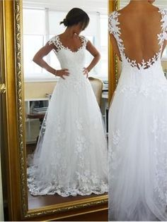 2014 White A Line Sweetheart  Backless Lace Tulle Wedding Dresses , Great Design.