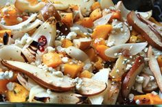 Roasted butternut squash, pears and onions with blue cheese.