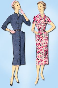 1950s Vintage Advance Sewing Pattern 7856 Uncut Misses Day Dress Size 14 32 Bust