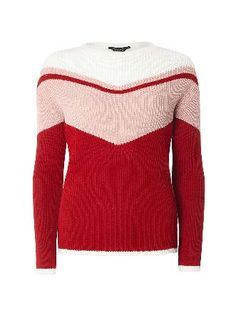 Dorothy Perkins Womens Red Block Chevron Knitted Jumper- Red Knitted block chevron jumper in ivory, red and pink. Full wearing length is 61cm. 100% Acrylic. Machine washable. http://www.MightGet.com/january-2017-13/dorothy-perkins-womens-red-block-chevron-knitted-jumper-red.asp