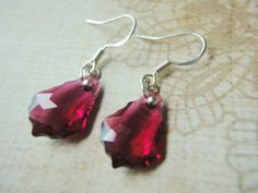 Earrings Red Ruby Leaves Crystals Sterling Handmade Gifts Artfire | LittleApples - Jewelry on ArtFire