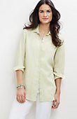 plus size yarn-dyed gingham linen big shirt from J.Jill