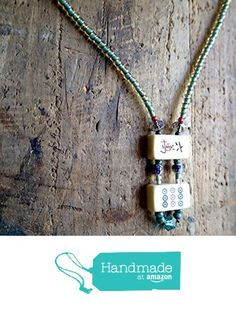 Necklace, Handmade, Beaded, Vintage Bone Mahjong, Czech Crystal, Mother of Pearl, Blue, Turquoise Color, Stone, Silver, Glass from ART::WEAR Necklaces by Cherie Lester https://www.amazon.com/dp/B01M7WL8G6/ref=hnd_sw_r_pi_dp_yytHybRRVZGGZ #handmadeatamazon