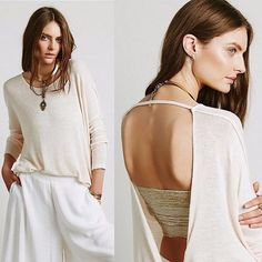 $68 We the Free People Alabaster Combo Shadow Hacci Twist Back Sweater M 8 F434 #FreePeople #Keyhole