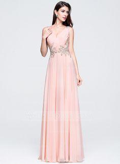 A-Line Princess V-neck Floor-Length Chiffon Prom Dress With Ruffle 62e75d0c9b8c