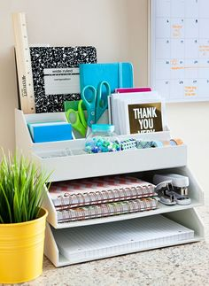 Office Organization Rack - Desk Organization - Home Office Decor - Office Decor Organisation Hacks, Home Office Organization, Storage Organization, Storage Ideas, Storage Design, Stationary Organization, Office Storage, Desk Storage, Organizing Ideas For Office