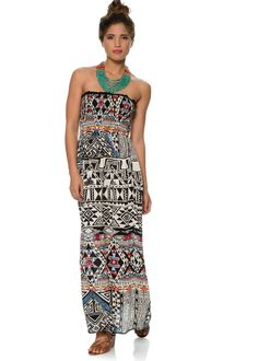 c7692a7f662 STRAPLESS  TUBE TOP MAXI DRESS.SMOCKED ELASTIC BUST FOR EASY PULL ON. WOVEN  SKIRT BY ANGIE