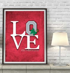 "Ohio State Buckeyes inspired ""Love"" ART PRINT, Sports Wall Decor, man cave gift for him, Unframed #mancave #ohiostate #buckeyes #giftforhim"