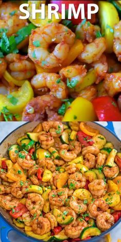 Shrimp Tacos Discover Shrimp and Vegetable Skillet This Easy Shrimp and Vegetable Skillet makes a healthy quick and delicious dinner! Packed with wild-caught shrimp tender zucchini and sweet bell peppers it is going to become your favorite seafood dish! Easy Appetizer Recipes, Fish Recipes, Healthy Dinner Recipes, Chicken Recipes, Cooking Recipes, Yummy Recipes, Shrimp Dinner Recipes, Healthy Shrimp Recipes, Healthy Dishes