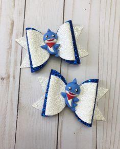 Handmade Blue Gingham and Plain School Hair Bows On Alligator Clips Set Of 6