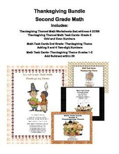 This charming math bundle gives you three sets of task cards and a comprehensive review in a collection of Thanksgiving themed worksheets. Lots of practice and choices for your centers are included in this 74 page product.