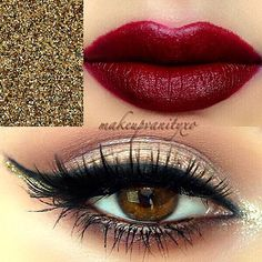 New Year Party Makeup Idea. Pastel Gold on Eyelids. Gold on Inner. Slap on Volume Mascara. Red Crimson on Lips. Stunning. <3