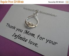 ON-SALE Mother Daughter Necklace  Thank you by weddingbellsdesigns
