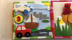 """I would like to perform you my Quiet Book Page """"Transport"""". This activity will teach your baby the vehicle. The page has an image of the city with different types of transport (land, air, water). The size of the page is cm. Diy Quiet Books, Baby Quiet Book, Felt Quiet Books, Infant Activities, Preschool Activities, Quilt Book, Crayon Book, Felt Crafts Diy, Sensory Book"""