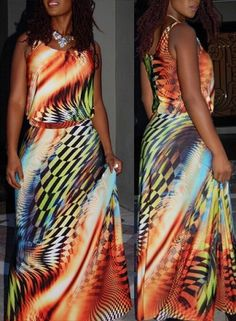 Colorful Scoop Neck Sleeveless Printed Maxi Dress For Women