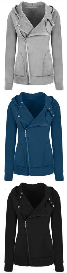 Women's Casual Solid Color Slim Fit Zip up Hoodie Jacket