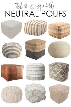 living room 214835844711267065 - A curated collection of stylish and affordable neutral pouf ideas! These work well in living rooms, bedrooms, entryways and more! Includes leather, jute, wool and other types of poufs! Ottoman In Living Room, Living Room Decor, Living Rooms, Living Room Chairs, Rattan Pouf, Wicker Ottoman, Ottoman Decor, Pouf En Crochet, Decorating Rooms