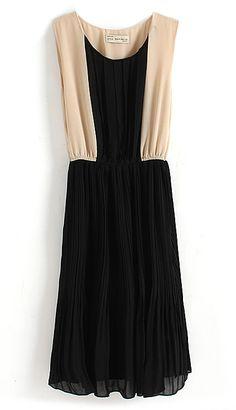 Black Contrast Nude Panel Sleeveless Chiffon Dress
