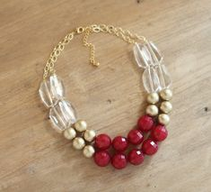 Cranberry Red and Gold Statement Necklace -♥- Burgundy Bib Necklace.
