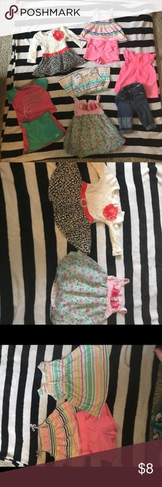 🌸12 Months Girls Bundle, 9 Pieces. 🌸 Nike Skort Outfit (12 Months) Pink and Blue Romper (12 Months)  Old Navy Capris  Pink Owl Tee Carter's Striped Tank and Pink Shorts (12 Months) Long Sleeve Dress (12 Months) Solo Striped Dress (12 Months)  9 Pieces for $8. Matching Sets