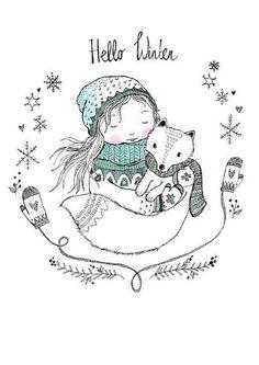 Hello Winter - postcard from Marieke ten Berge. - Hello Winter – postcard from Marieke ten Berge. Winter Illustration, Christmas Illustration, Cute Illustration, Hallo Winter, Illustration Mignonne, Winter Drawings, Diy Y Manualidades, Arte Tribal, Doodles