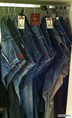 THESE TIPS ARE AMAZING. Use shower hooks to hang jeans. Saw this recently at a store--genius! 53 Seriously Life-Changing Clothing Organization Tips Organizing Hacks, Closet Organization, Cleaning Hacks, Clothing Organization, Organization Ideas, Closet Storage, Organising, Bedroom Storage, Closet Bedroom