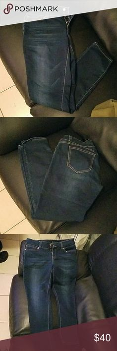 Blue denim jeggings! Stretchy, soft, and has good pockets. Not the type that us girls struggle with when the pockets are so tiny!! These are a skinny fit but doesn't suck the life out of your ankles, haha. Boom Boom Jeans Jeans