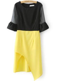 Black Yellow Sheer Mesh Yoke Half Sleeve Asymmetrical Dress - Sheinside.com