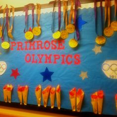 A bulletin board I designed to celebrate the Olympics with my summer camp kiddos!!