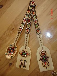 HAND CARVED, PAINTED AND PYROGRAPHY WOODEN KITCHEN SET