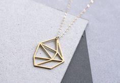 Collier géométrique bijoux géométrique facette par WildThingStudio, $55.00