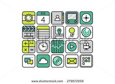 Thin line icons with flat design elements of abstract mobile apps, smartphone application web button for business and common usage. Modern vector illustration concept, isolated on white background.