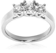 14k White or Yellow Gold 3-Stone Diamond Ring (1 cttw, H Color, SI2 Clarity)