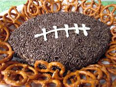 Peanut butter Football - with cream cheese and chocolate. Although this would be good for football games, it sounds good anytime.