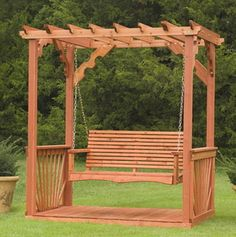New Outdoor 7' Wooden Cedar Wood Pergola Yard Garden Porch Swing Free Standing