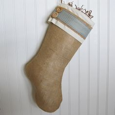 Style F Burlap Stocking with Red Accents