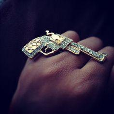 Only $24.00!! : D Gold Rhinestone Gun Ring