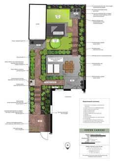 Jaren-30 tuinontwerp in Den Haag, rechte lijnen en een vleugje romantiek | Green Canvas Clematis, Floor Plans, Diagram, Canvas, Garden, Masterplan, The Hague, Tela, Lawn And Garden