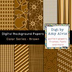 Digital Background - Scrapbook Pack - Color Series - Brown, $