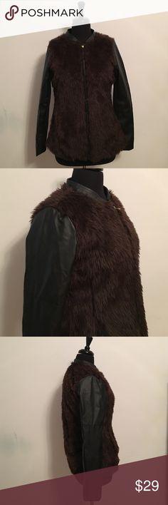 Miss London Faux Fur Faux Leather Jacket Bust: 40 inches Sleeve: 25 inches Length:25 inches Miss London Jackets & Coats