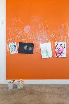 Funky orange chalk-board at handy 'kid-height' in the kitchen, teams with a cool concrete look vinyl on the floor. Decorating products are available in New Zealand through Guthrie Bowron stores. Living Spaces, Living Room, White Wallpaper, New Carpet, Curtains With Blinds, Chalk Board, Open Plan Living, Concrete, Kid