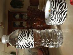 Zebra water bottles for my graduation party .. Zebra theme ❤