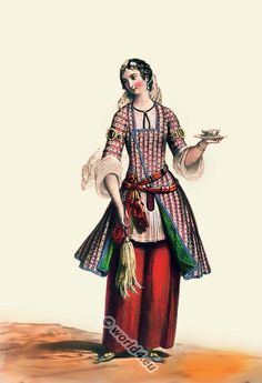 Girl from Persia 19th century. Oriental costume.