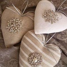Linen And Diamante Heart
