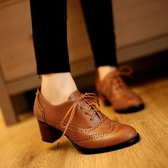 62.99$  Watch now - http://alidxe.worldwells.pw/go.php?t=32733155378 - Women Plus Size 34-43 Lace Up Med Square Heel High Quality Stylish Classic Hot Sell Woman Fashion spring and autumn Shoes 62.99$