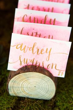 Calligraphy table place cards // DIY Watercolour Cards